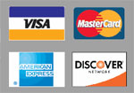 We take MasterCard, Visa, American Express, Discover